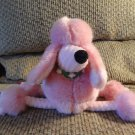 2001 Manhattan Toy #013263 Pink Waffle Print Lovey Long Legged Puffy Poodle Puppy Dog Plush