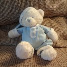Baby Ganz Lovey White Blue #HX8246 Baby Bear In PJS Snowflakes Teddy Bear Plush 10""
