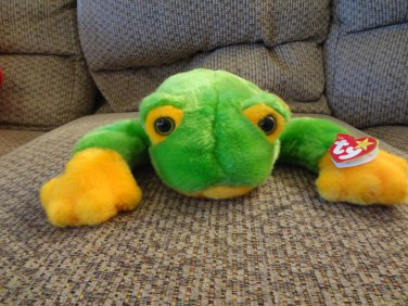 "WMT 1998 Retired Ty Beanie Buddy Lovey Smoochy Green Frog Plush 15"""