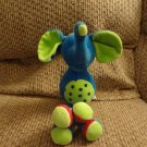 Russ Berrie Effie #22253 Rattles Plush Blue Long Knotted Legs Polka Dot Elephant Lovey 12""