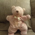 Carters #48161 Brown Star Pillow My Sunshine Gold Satin Bow Ears Teddy Bear Lovey Plush 13""