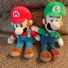 "Lot Of 2 2010 Nintendo Super Mario Brothers Red Blue Mario Green Blue Luigi Lovey Plush 8"""