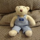 """Eden OshKosh B'goshCream Teddy Bear Cloth Overalls lovey Plush 10"""""""