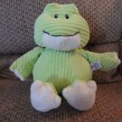 Baby Ganz Green Corduroy Cuties #BG2677 Rattles Cream Lovey Frog Plush 14""