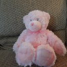 First Impressions Pink Furry Teddy Bear Black Sewn Eyes Lovey Plush 14""