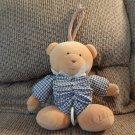 Osh Kosh #3860 Blue Gingham Tan Teddy Bear Expanding Musical Crib Pull Toy