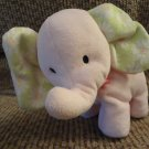 """Carters Pink Elephant Green And White Daisy Ears Lovey Plush 11"""""""