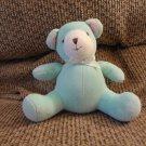 "Carters #2219 Aqua Green Pink Ears Jingle Rattle Teddy Bear Lovey Plush 5"""