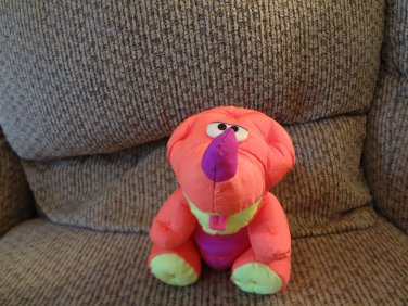"Vintage 1992 Fisher Price Puffalump Dinosaur 7""Neon Orange Purple Green SittingPlush"