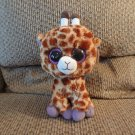 WT 2014 Ty Medium Beanie Boos Safari Brown Tan Spotted Purple Giraffe Lovey Plush 10""