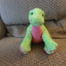 """WT 2005 Ty Pluffies Green and Pink Polka Dot Dinosaur Stomps Lovey Plush 13"""""""