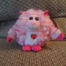 2012 Ty Monstaz Roxy Pink Hot Pink Stripes Horns Talking Monster Kissing Lovey Plush 5""