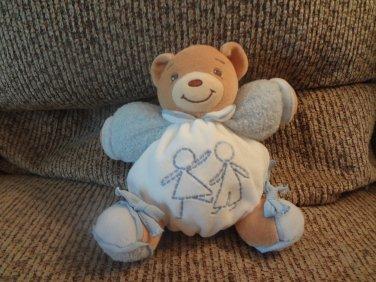 "2006 Kaloo Boy Girl Playing Blue Terry Lovey Brown Teddy Bear Plush 6"""