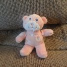 "Dandee Pink Peach White Hearts Rattle Lovey Teddy Bear Plush 7"""