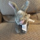 2010 Animal Adventure Gray Pink Furry White Bow Bunny Rabbit Plush 10""