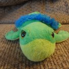 Vintage 1994 The Petting Zoo Green Blue Floppy Bean Bag Sparkle Sea Turtle Plush 8""