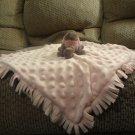 "Elegantbaby #55099 Pink Gray Turtle Fringed Minky Dot 14x15"" Fleece Lovey Security Blanket"