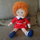 Vintage 1982 Knickbocker Universal Studios Annie Red Dress Orange Yarn Hair Sandy Lovey Plush 16""