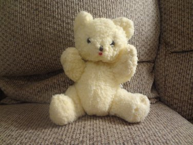 Vintage Eden Cream Wooly Glass Eyes Jingle Chime Teddy Bear Lovey Plush