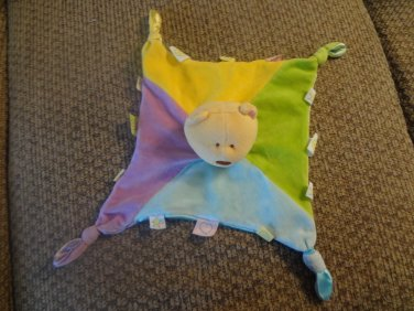 Kids Preffered Multi Color Taggies Tan Teddy Bear Lovey Security Blanket 9x10""