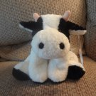 NWT Mary Meyer Flip Flops White Black #42100 Extremely Relaxed Animals Cow Lovey Plush 10""