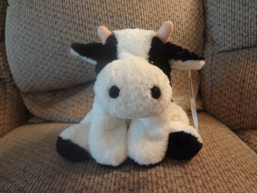 """NWT Mary Meyer Flip Flops White Black #42100 Extremely Relaxed Animals Cow Lovey Plush 10"""""""