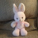 Vintage Pink White Polka Dot Ears Satin Bow Glass Eyes Bunny Rabbit Plush 11""