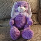 Animal Adventure Purple Waffle Textured Pink See Thru Bow Bunny Rabbit Lovey Plush 10""