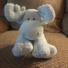 2006 Ty Pluffies Love To Baby Twacks Blue White Gingham Moose Lovey Plush 11""