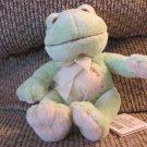 "WT Russ Berrie #23554 Paddles Green Cream Yellow Frog Plush Lovey 6"""