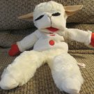 Aurora White Red Tan Lamb Chop Hand Puppet Wooly Lovey Plush 16""