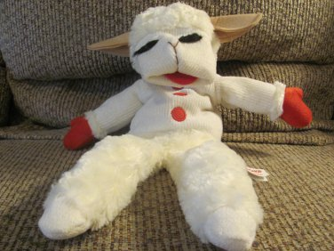 """Aurora White Red Tan Lamb Chop Hand Puppet Wooly Lovey Plush 16"""""""