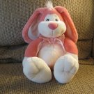 Vintage 1996 T L Toys Pink White Bunny Rabbit Plush Flower Satin Bow Lovey 13""