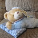 WT Goffa International Corp Praying Talking Blue Pajama Gingham Pillow Laying Teddy Bear Plush 13""
