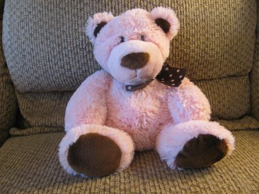 Mary Meyer Baby Pink Brown Teddy Bear Pink Polka Dot Brown Textured Bow Plush Lovey 12""