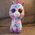 2013 Ty Beanie Boos Wishful Medium Pastel Dotted Metalic Ears Horn Hooves Unicorn Plush Lovey 9""
