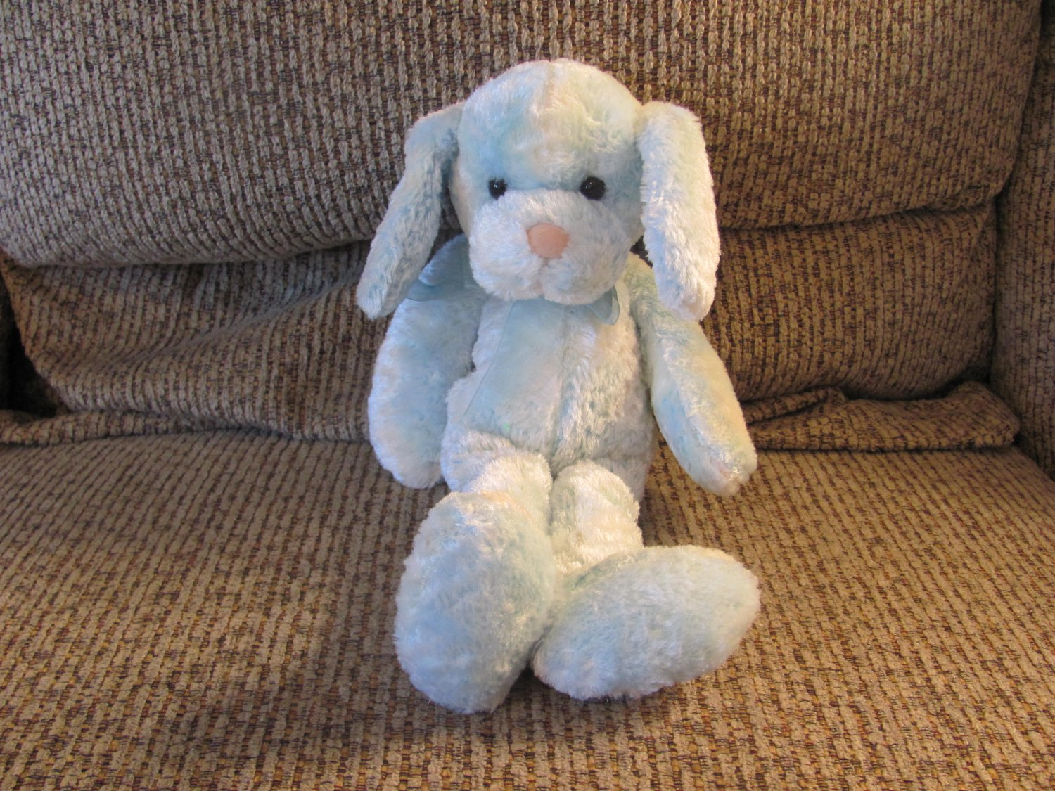 """2001 Commonwealth Blue White Long Legs Arms Floppy Puppy Dog Lovey Plush 13"""""""