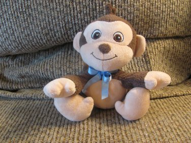 "Garanimals #82280 Brown Tan Monkey Blue Bow Lovey Plush 7"""