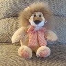 "2008 Animal Adventure Tan Brown Furry Orange Gingham Bow Lion Plush Lovey 13"""