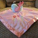 "Circo Blue Bird Pink Heart Flower Satin Fleece Lovey Security Blanket 13x13"""