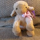 WT 2015 Animal Adventure Sweet Sprouts Tan Pink Gingham Bow Lamb Sheep Lovey Plush 8""