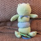 Koala Baby #1415474KS Green Blue Striped Ribbit Vibrating Frog Crib Toy Plush 9""