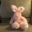 Russ Berrie #4624 Mennington Pink Furry Satin Bow Bunny Rabbit Lovey Plush 14""