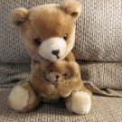 Vintage 1977 Dakin Mama And Baby Bear Carmel Brown Cream Teddy Bears Plush 10""
