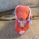 WT 2012 Animal Adventure Red Corduroy Pink Suede Heart Carrying Puppy Dog Plush Lovey 10""