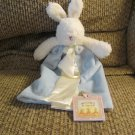 WT 2010 Bunnies By The Bay Baby Bud Cream Blue White Bunny Rabbit Security Blanket Lovey