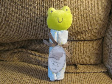 NWT Carters Precious Firsts Blue Green Frog Security Blanket Lovey Plush
