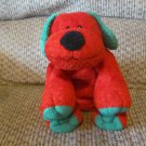 WT 2006 Ty Pluffies Jingles Puppy Dog Lovey Plush Red Green Tylux Black Button Eyes 11""