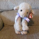 WT 1997 Ty Classic Lovie Tan Purple Lavender Bow Sheep Lamd Lovey Plush 14""