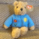 WT 1992 Ty Classic Baby Curly Tan Blue Sweater Teddy Bear Lovey Plush 10""